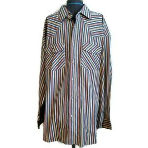 Western Shirt 2x 2XL Pearl Snap Stripe new cowboy